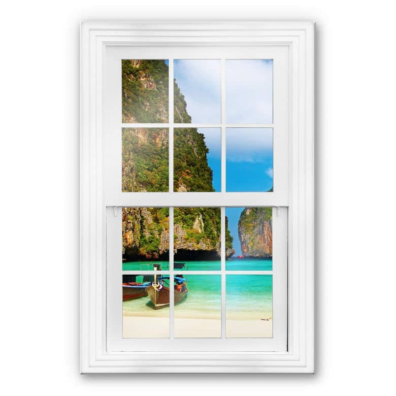 Glasbild 3D Fenster - Südseebucht