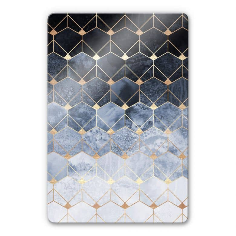 Glasbild Fredriksson - Hexagone: Blau und Gold