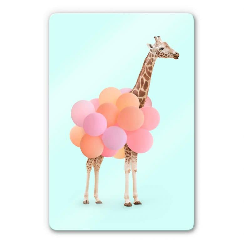 Glasbild Fuentes - Giraffe und Ballons