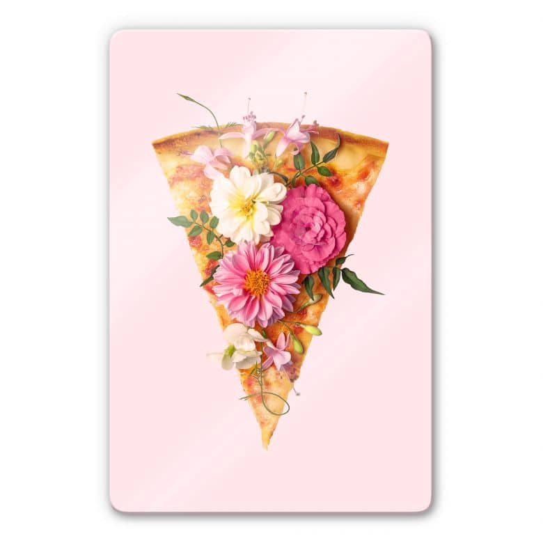 Glasbild Fuentes - Pizza und Blumen