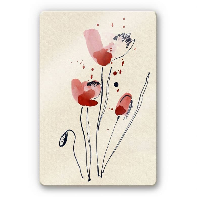 Illustrated poppies Glass art