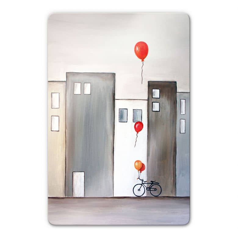 Glasbild Melz - Der Ballonverkäufer