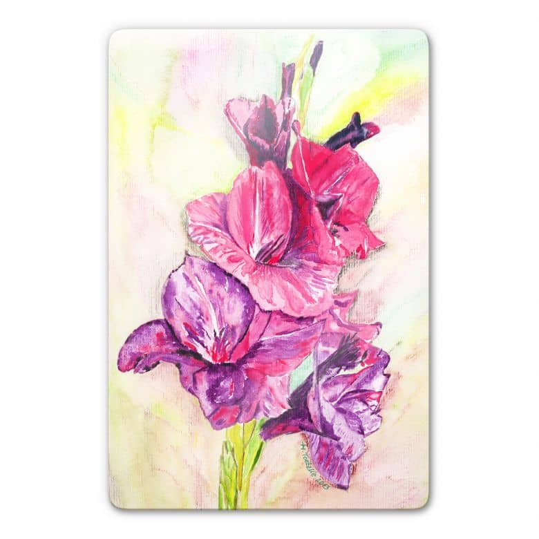 Glasbild Toetzke - Gladiolen Bouquet in Violett