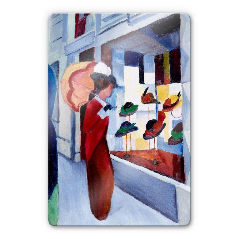 Glasbild Macke - Frau mit Sonnenschirm vor Hutlade