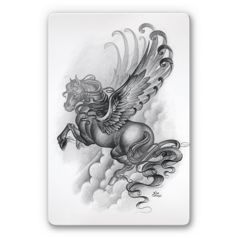 Glasbild LA Ink Flying Horse