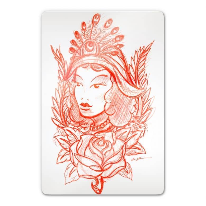 Tableau en verre - Miami Ink - Femme et plumes de paon