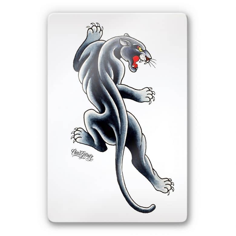 Tableau en verre - Miami Ink - Panthère noire
