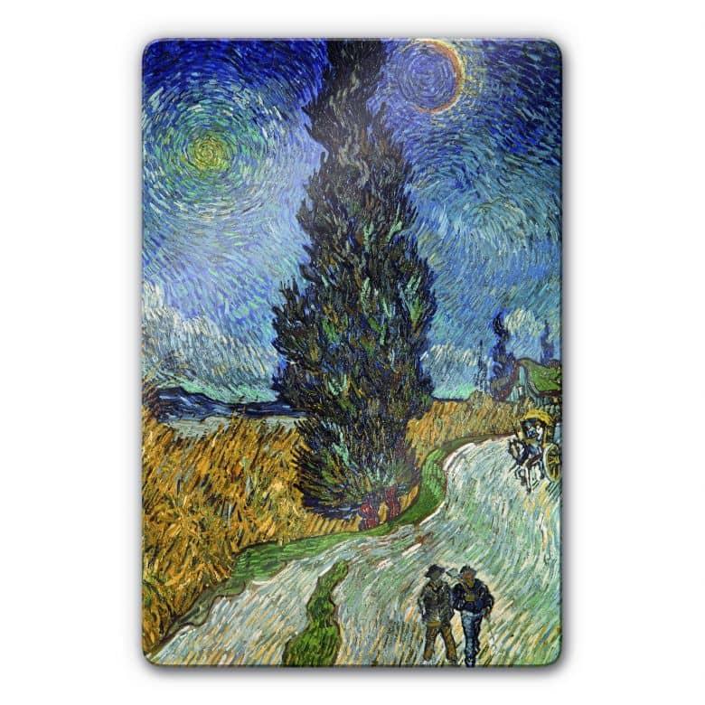 Glasbild van Gogh - Landstraße mit Zypresse und Stern