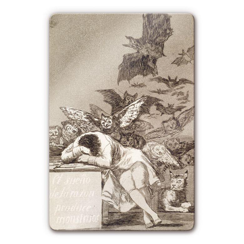 Glasbild de Goya - Der Schlaf der Vernunft gebiert Ungeheur