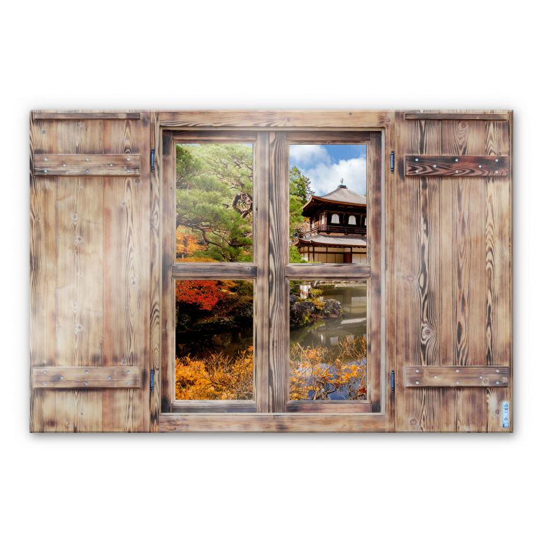 Glasbild 3D Holzfenster - Japanischer Tempel