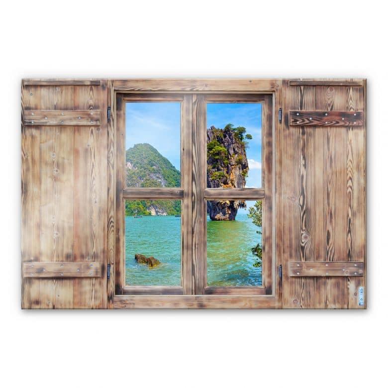 Glasbild 3D Holzfenster - Khao Ta Pu Island