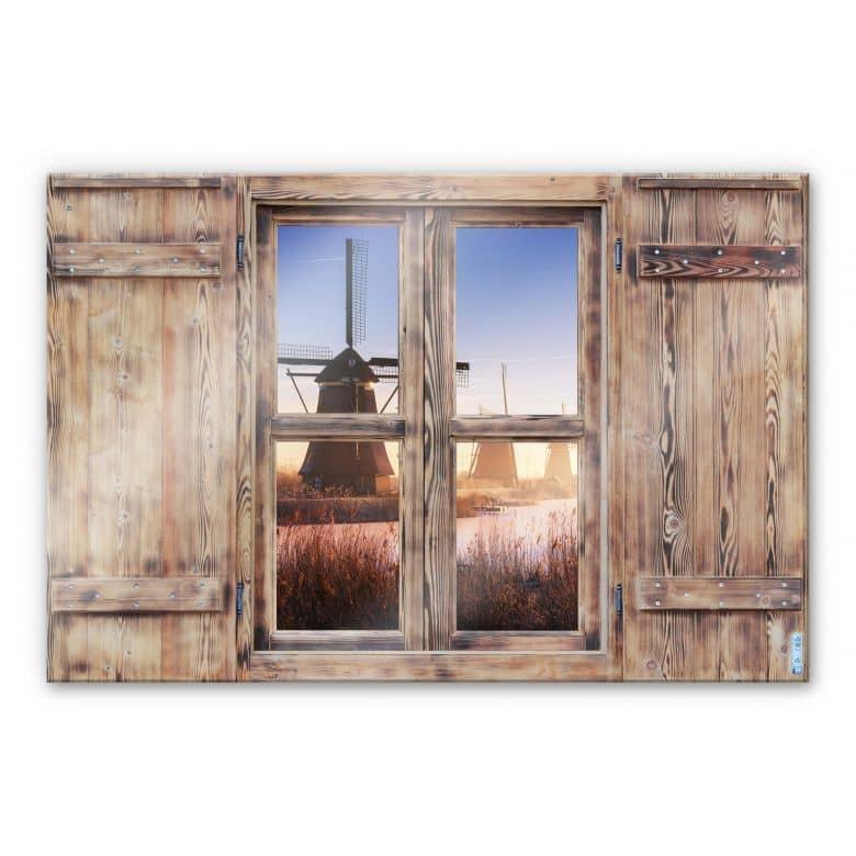 Glasbild 3D Holzfenster - Pablo Kinderdijk 4