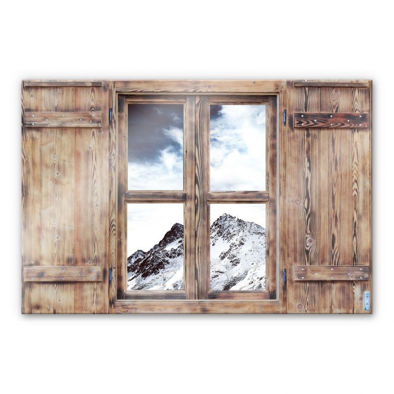 Glasbild 3D Holzfenster - Snow Mountain