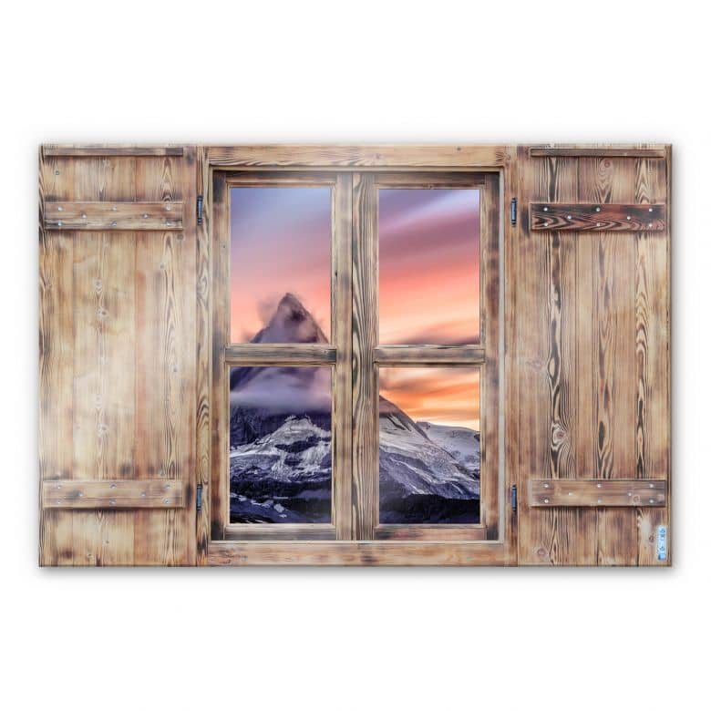 Glasbild 3D Holzfenster - Top of the mountain