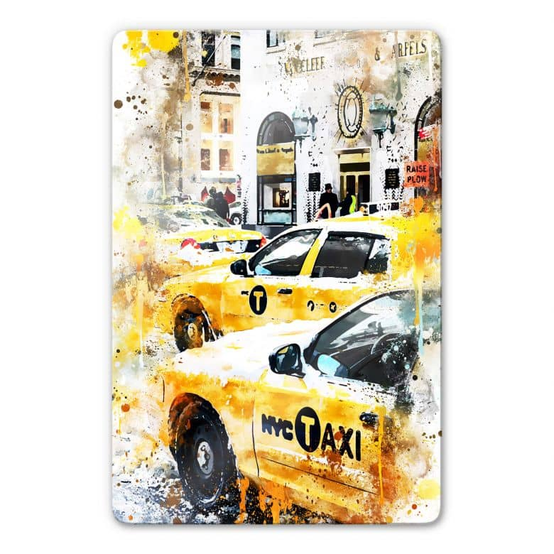 Glasbild Hugonnard - Watercolour: New York Cabs