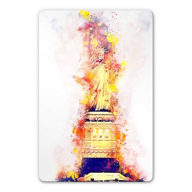 Glass Picture Hugonnard - Watercolour: Statue of Liberty