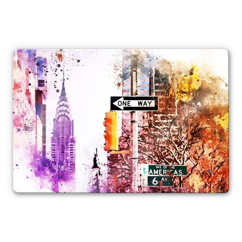Glasbild Hugonnard - Watercolour: The Empire State Building