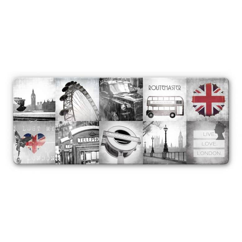 Glasbild Impressions of London - Panorama