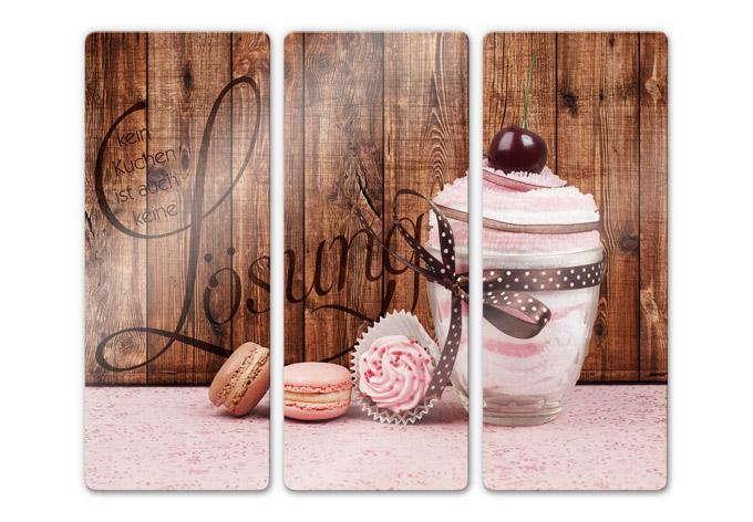 3 teiliges glasbilderset kein kuchen ist auch keine l sung 3 teilig wall - Wandbilder kuchenmotive ...