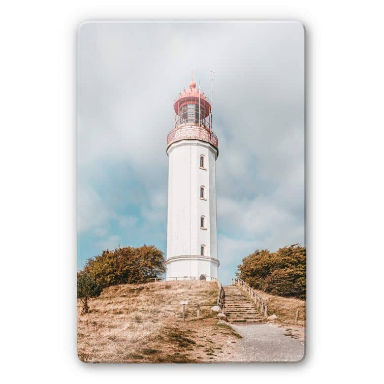 Glasbild Leuchtturm auf Hiddensee