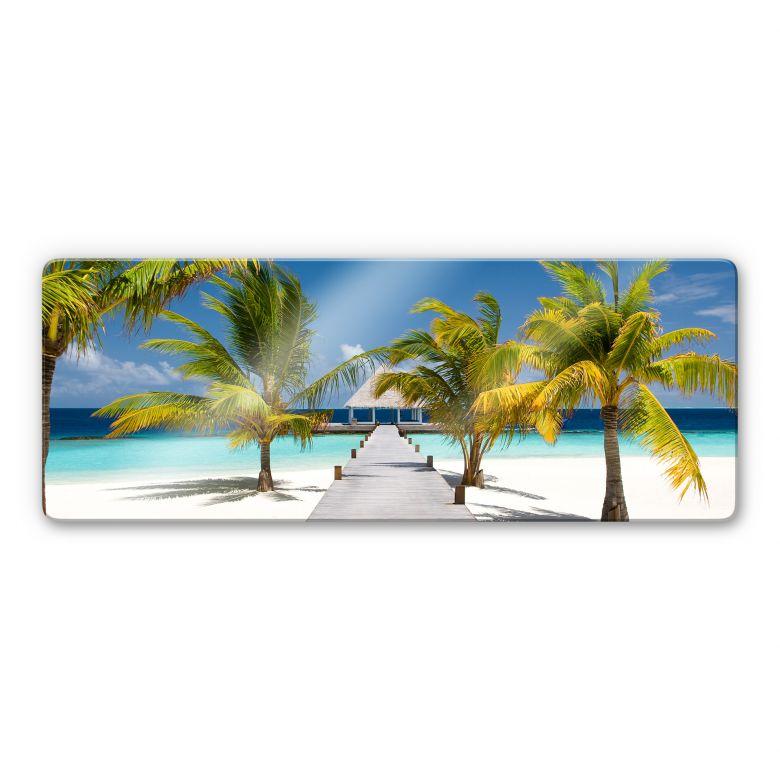 panorama glasbild der weg ins paradies wandbild mit. Black Bedroom Furniture Sets. Home Design Ideas