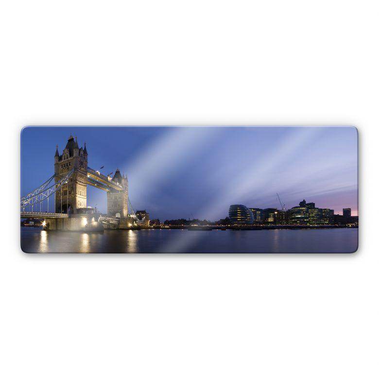 Glasbild Tower Bridge an der Themse - Panorama