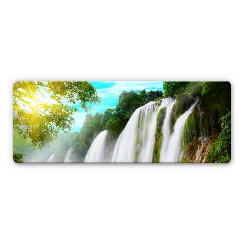Glasbild Blaue Lagune - Panorama