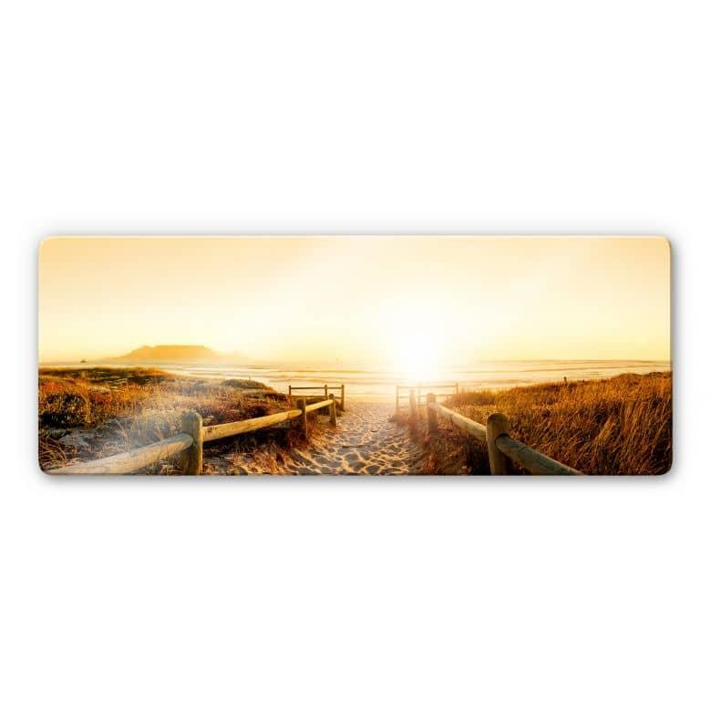 Glasschilderijen Zonsondergang op het Strand
