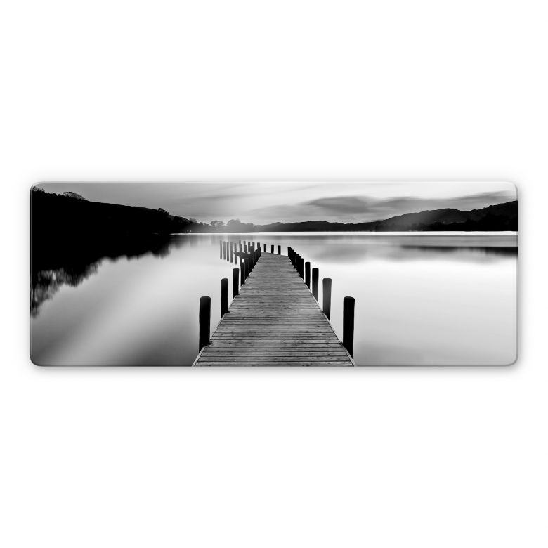 Tableau en verre - Panorama de la mer - noir/blanc