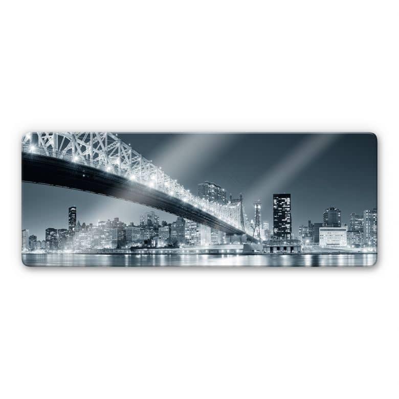 Glasbild New York at Night 3 - Panorama