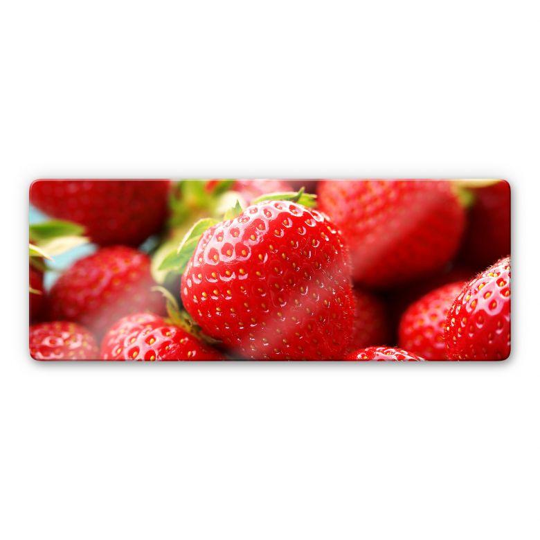Glasbild Erdbeeren aus dem Garten - Panorama