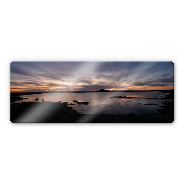 Glasbild Seepanorama im Sonnenuntergang