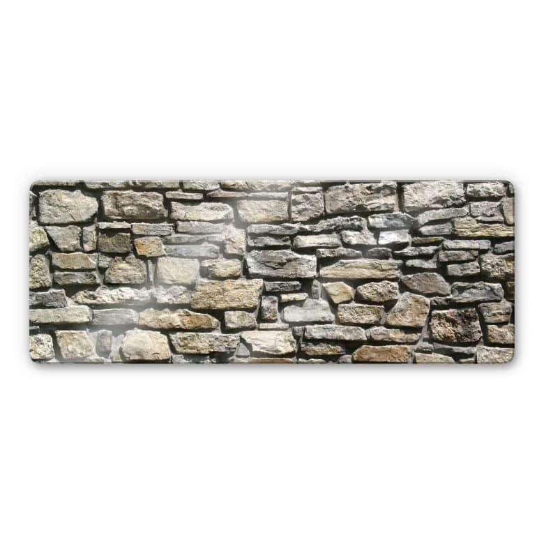 Glasbild Natursteinmauer - Panorama