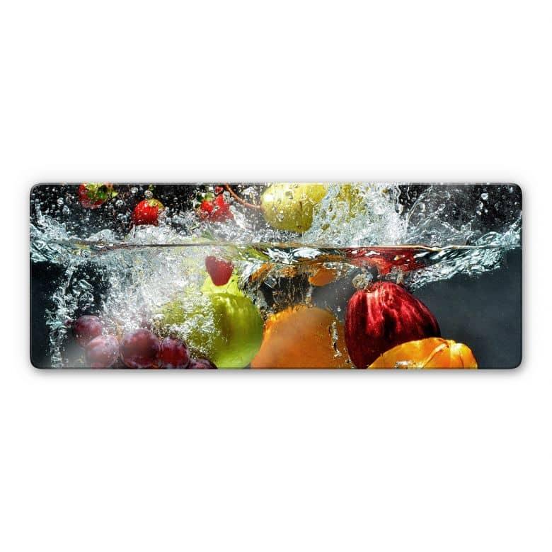 Glasbild Erfrischendes Obst Panorama
