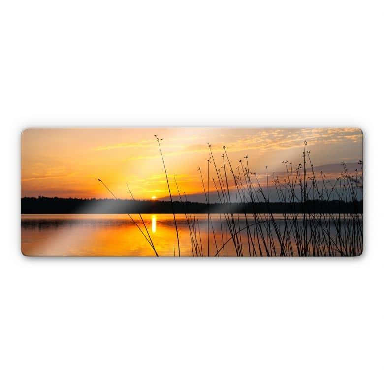 Sunset on Lake Panorama Glass art