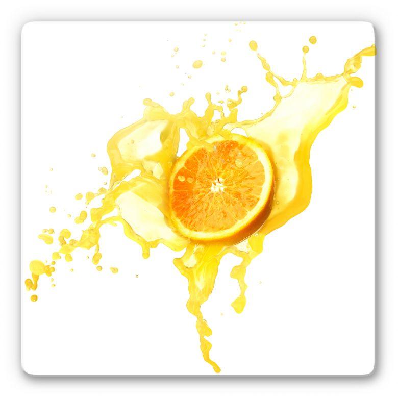 Glasbild Splashing Oranges - quadratisch