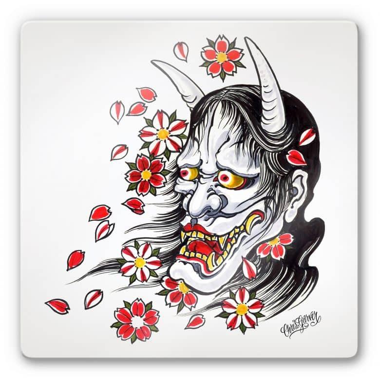 Tableau en verre - Miami Ink - Le masque d'Hannya