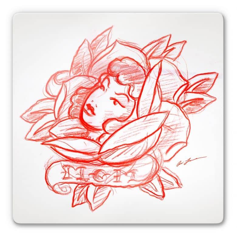 Glasbild Miami Ink Blütengesicht