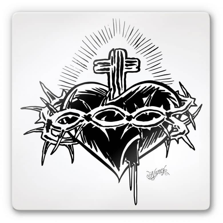 Tableau en verre - Miami Ink - Cœur et croix