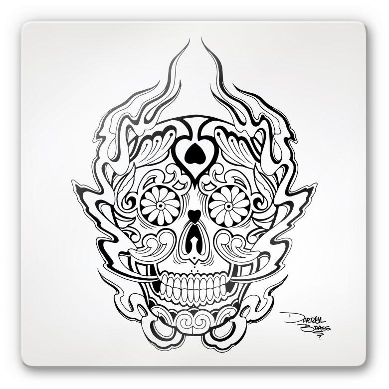 Tableau en verre - Miami Ink - Masque des morts mexicain 1
