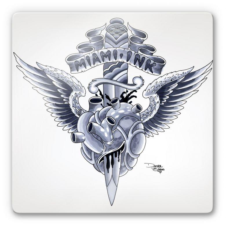Tableau en verre - Miami Ink - Coeur et poignard