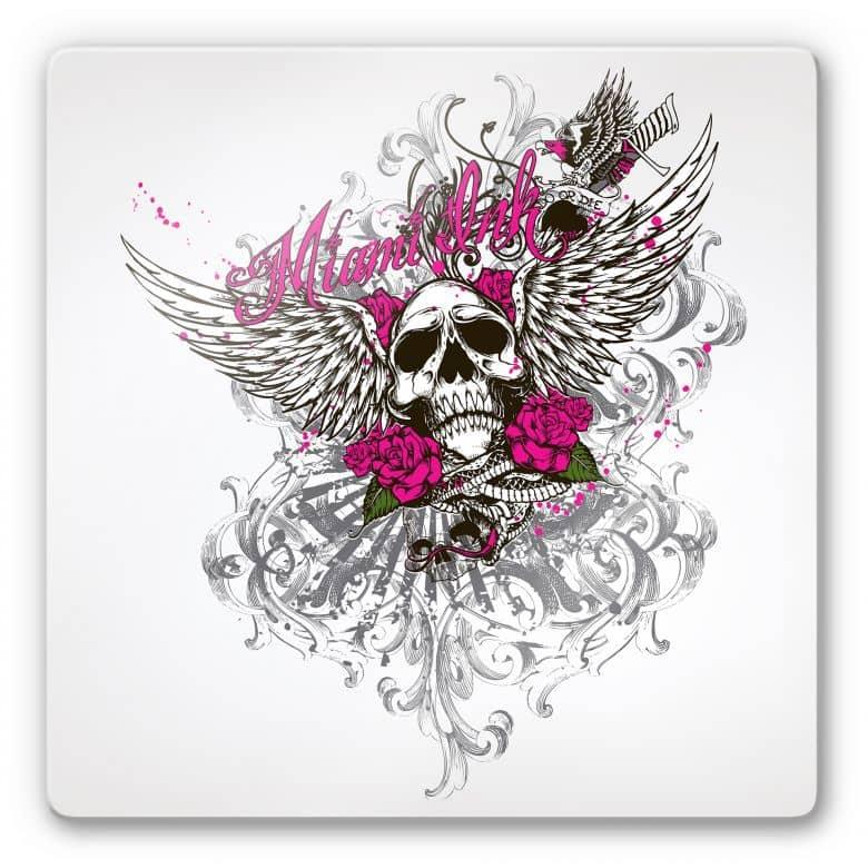 Tableau en verre - Miami Ink- Crâne et roses