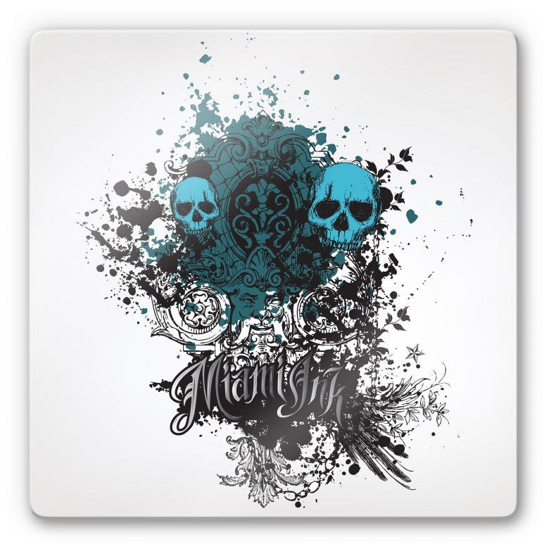 Tableau en verre - Miami Ink - Tête de mort et ornements