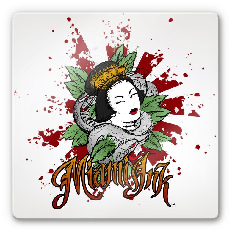 Tableau en verre - Miami Ink - Femme asiatique avec serpent