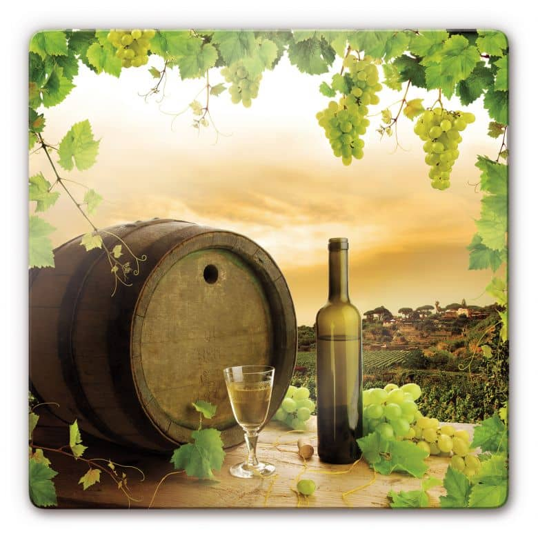 Tableau en verre - Vigne de vin blanc