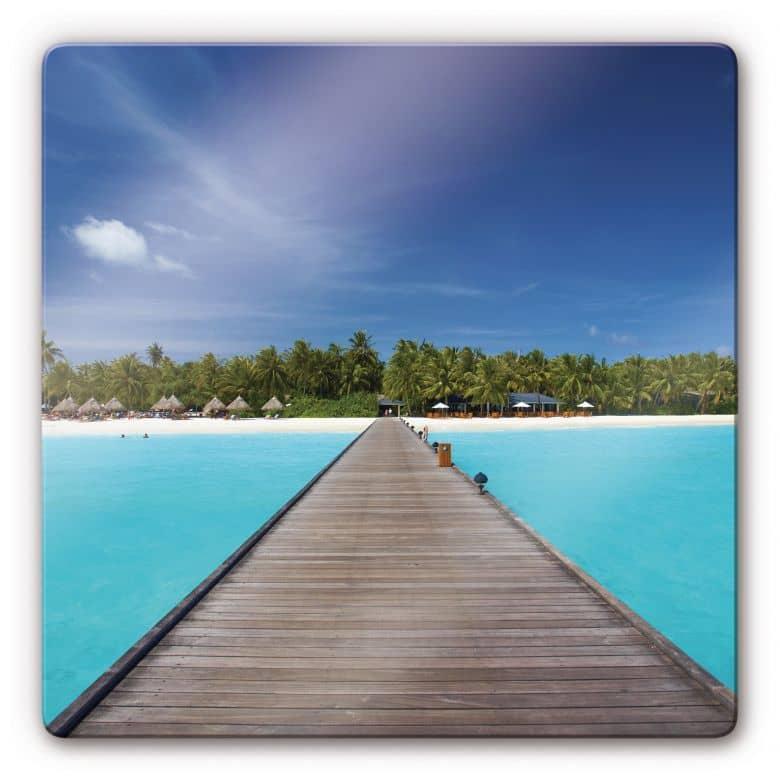 Glasbild Karibik - quadratisch
