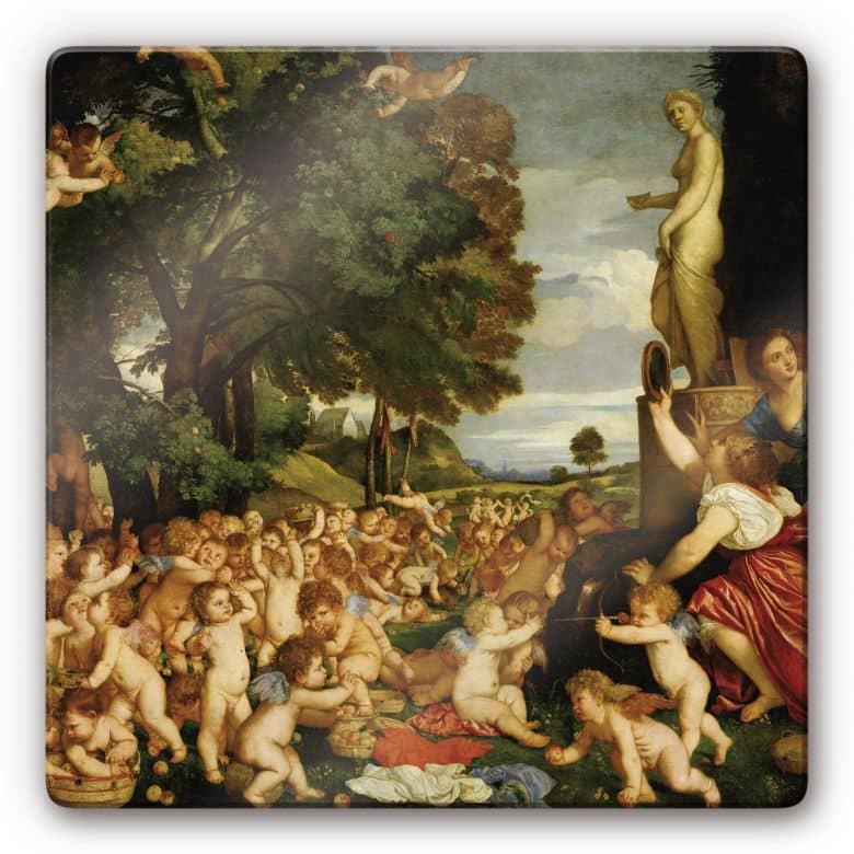 Glasbild Tizian - Das Venusfest