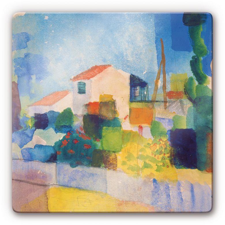 Glasbild Macke - Das helle Haus