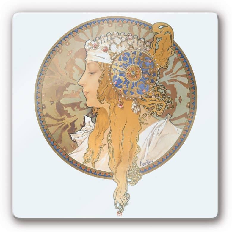 Glasbild Mucha - Medaillon mit Bildnis einer blonden Frau