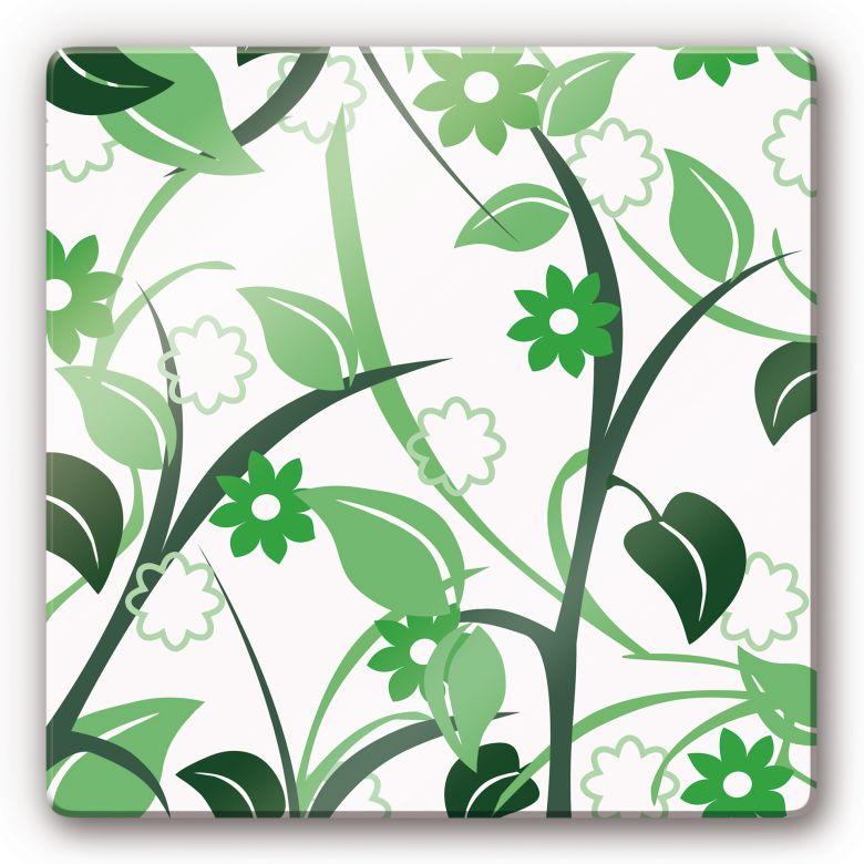 Glasbild Blumengarten grün